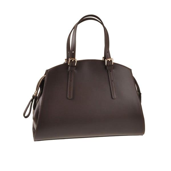 Kožená kabelka Aston, tmavo hnedá