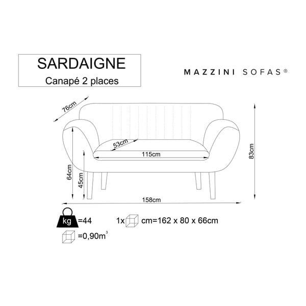 Sivá dvojmiestna pohovka so svetlými nohami Mazzini Sofas Sardaigne