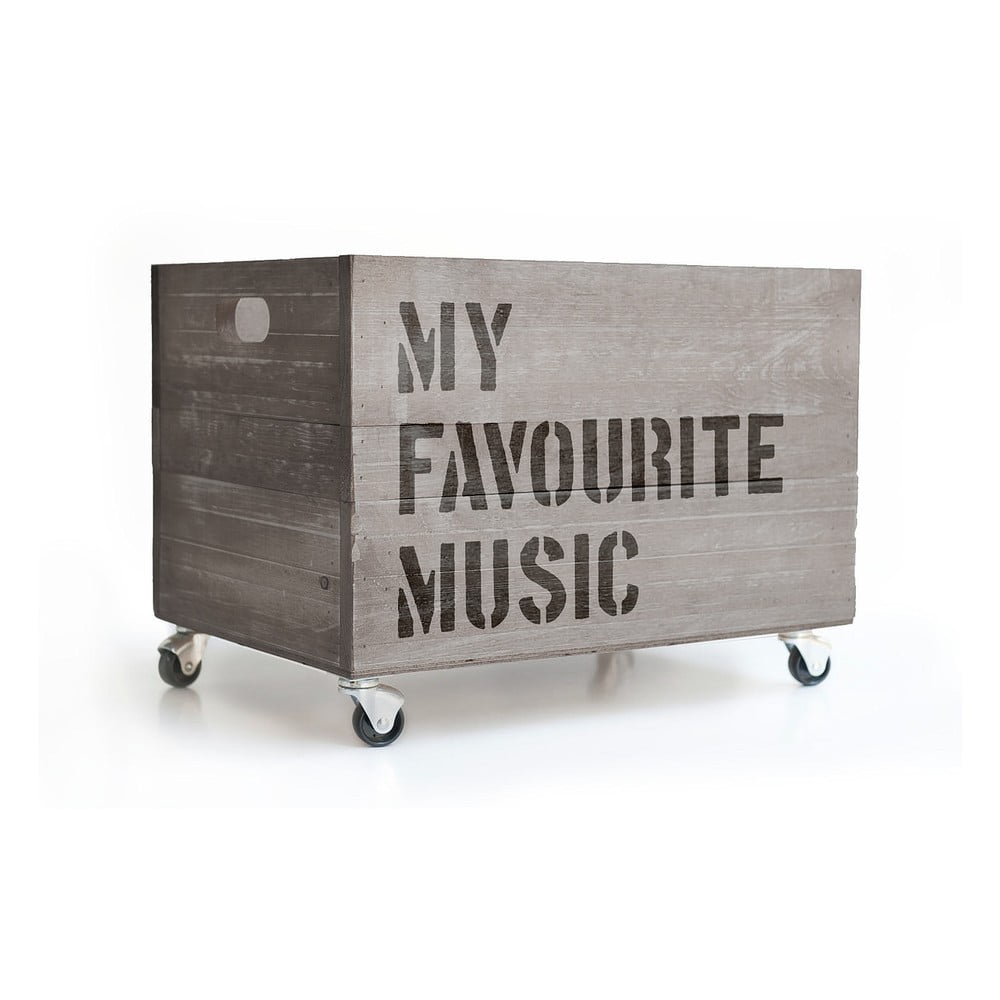 Sivý pojazdný box Really Nice Things Happy Favourite Music