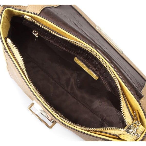 Kožená kabelka Elegance Yellow and Beige