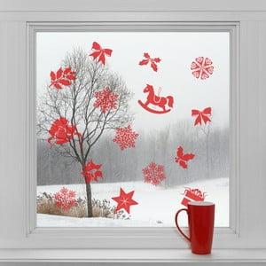 Elektrostatické vianočné samolepky Červené ozdôbky