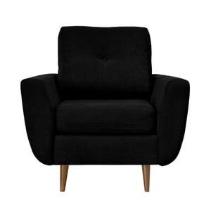Čierne kreslo Mazzini Sofas Flower, svetlé nohy