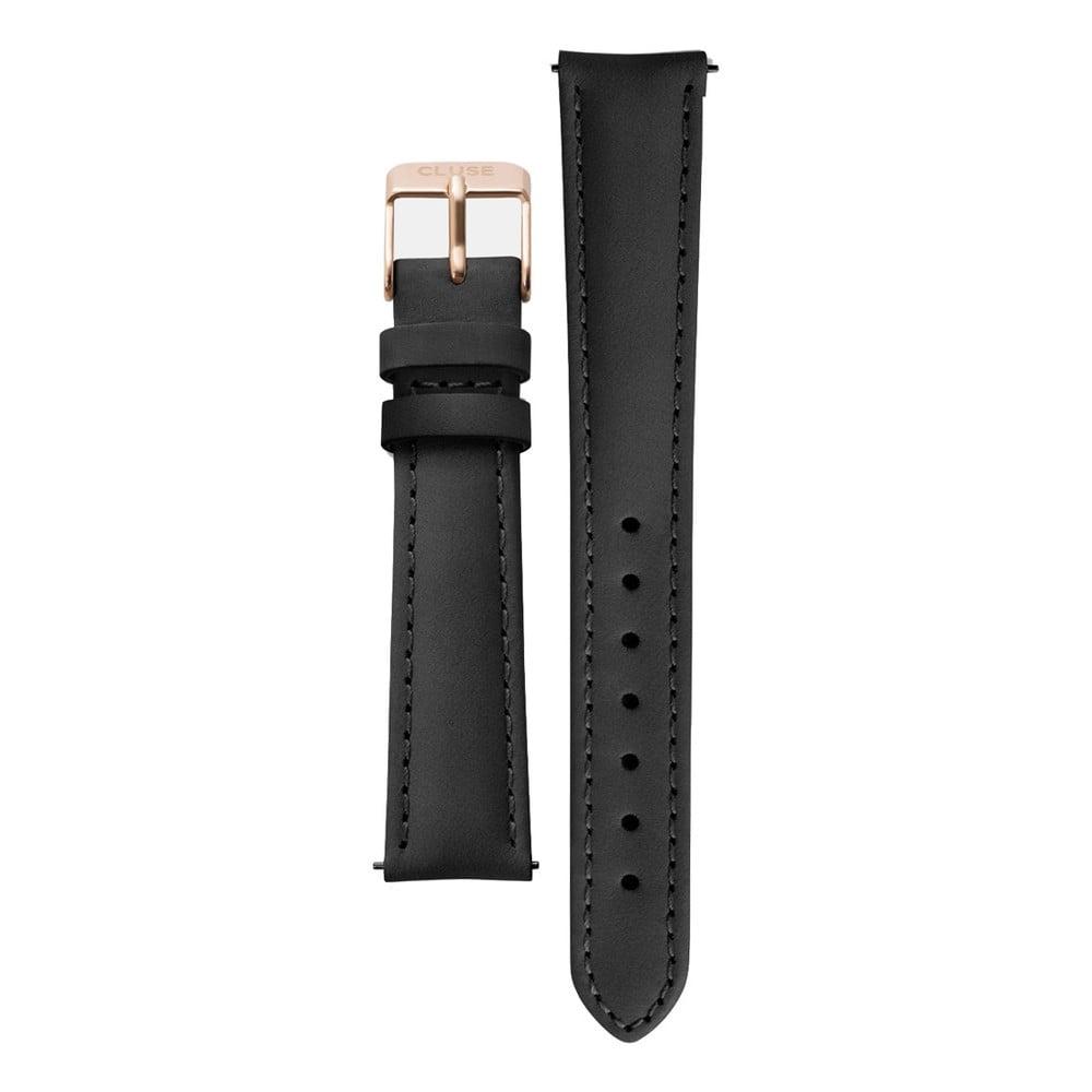 Čierny kožený remienok s detailmi vo farbe ružového zlata k hodinkám Cluse Minuit