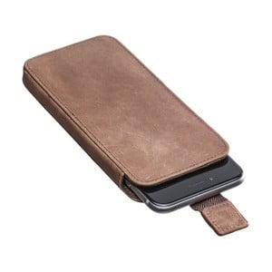 Hnedé praktické kožené puzdro na iPhone 6/6S Packenger