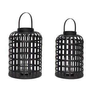 Sada 2 čiernych bambusových lampášov Hübsch Bamboo Garo