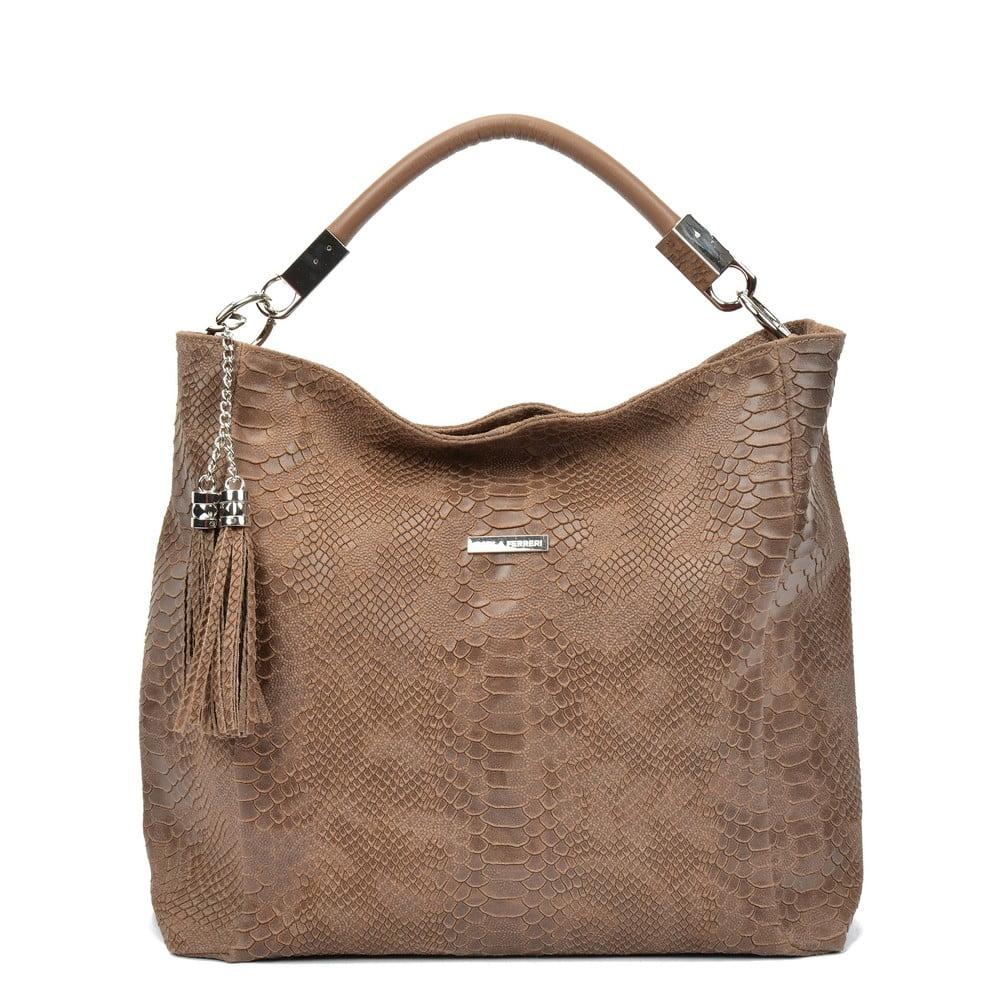 Hnedá kožená dámska kabelka Carla Ferreri