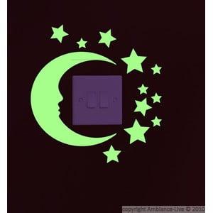 Samolepka svietiaca v tme Ambiance Moon and Stars, 22×22cm