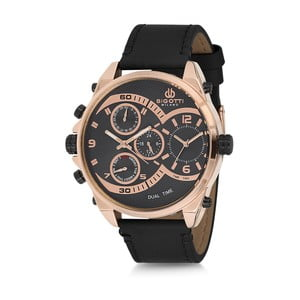 Pánske hodinky s čiernym koženým remienkom Bigotti Milano Donald
