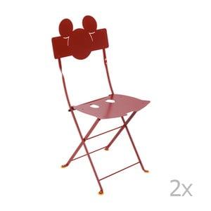 Sada 2 červených kovových záhradných stoličiek Fermob Bistro Mickey