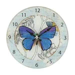 Nástenné hodiny Blue Butterfly, 17 cm