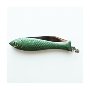 Český nožík rybička, zelený lak s kryštálom v oku