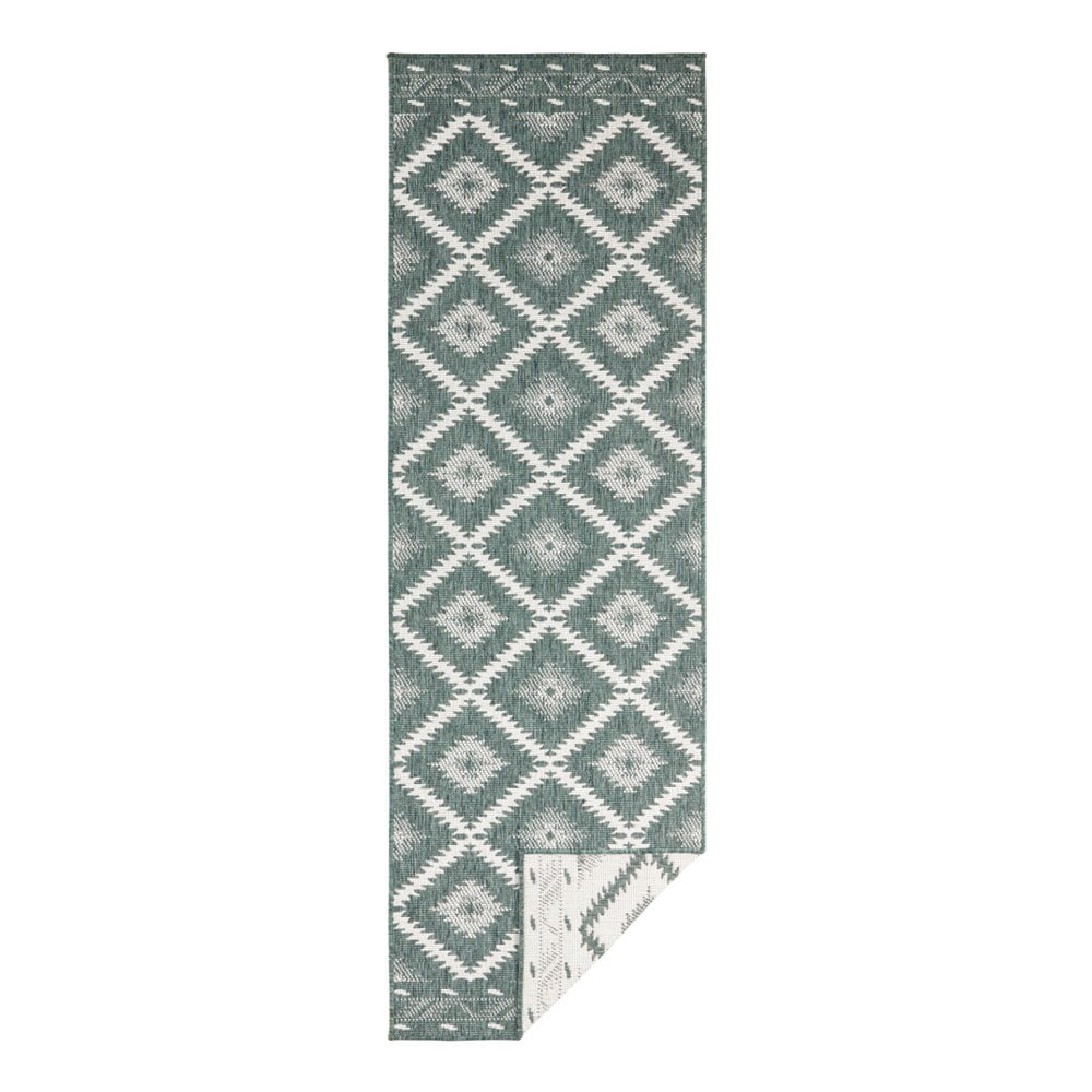 Zeleno-krémový vonkajší koberec Bougari Malibu, 250 x 80 cm