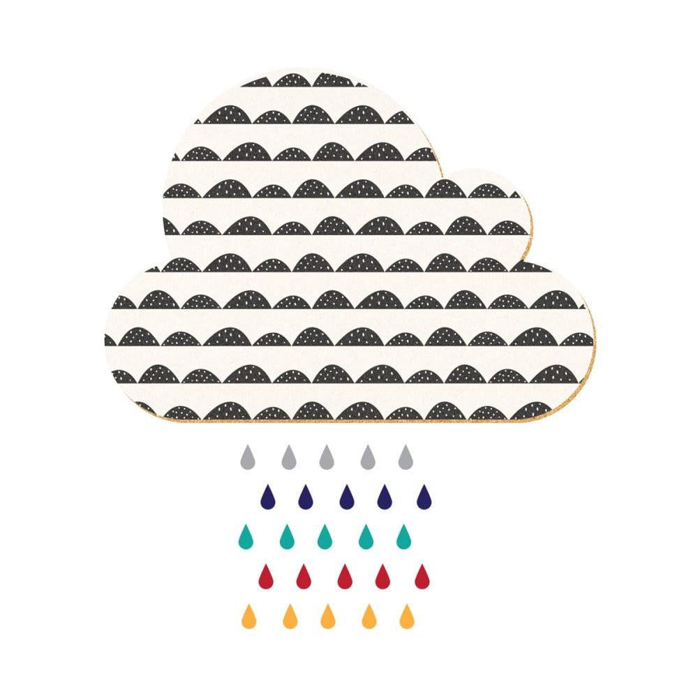 Dekoratívna samolepiaca nástenka Dekornik White Cloud With Colorful Drops, 57 x 40 cm