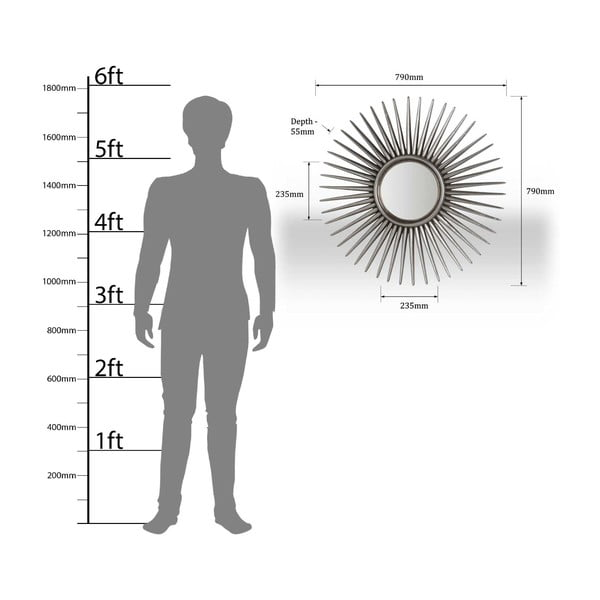 Zrkadlo Alfano, 78 cm