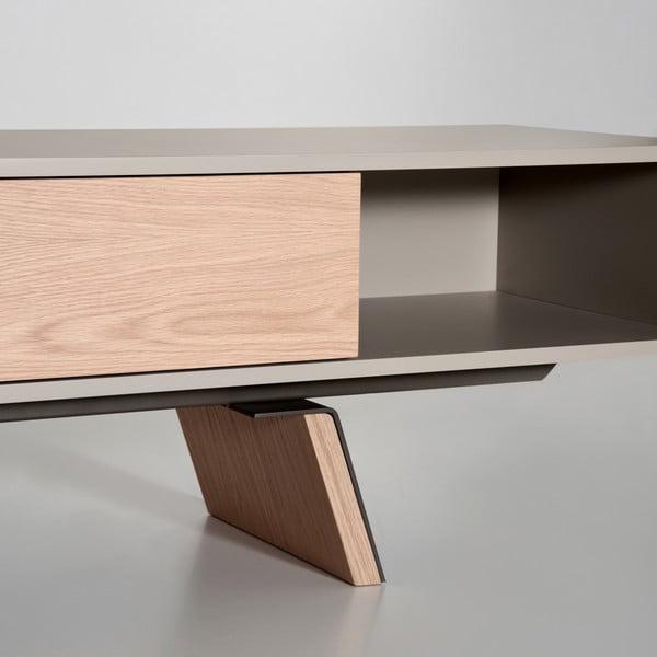 Televízny stolík E-klipse AL2, 225cm, béžový/dub
