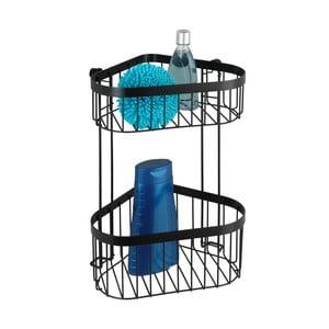 Čierny nástenný Dvojposchodový rohový košík Wenko Classic Plus