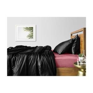 Sada 2 čiernych bavlnených obliečok na jednolôžko s ružovou plachtou COSAS Lago, 160×220cm