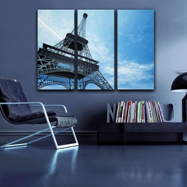 3-dielny obraz Modrá Eiffelovka