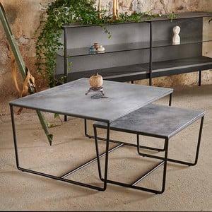 Sada 2 konferenčných stolíkov s podnožím v čiernej farbe a šedú mramorovou doskou RGE Stella