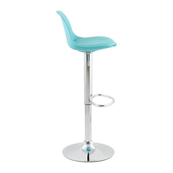 Modrá barová stolička so sdadlom z pravej kože Kokoon