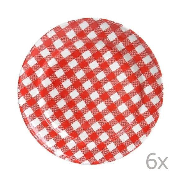 Sada 6 tanierov Livia 24 cm, červená