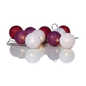 Svietiaca LED reťaz Twix, biela/fialová