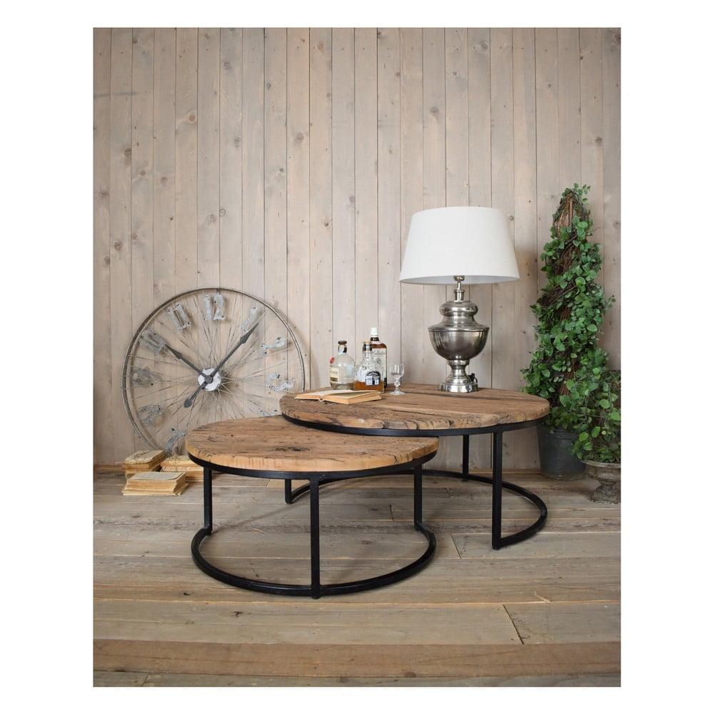 Sada 2 odkladacích stolíkov s doskou z borovicového dreva Orchidea Milano Old Factory