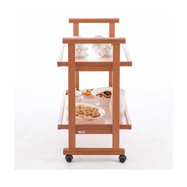 Pojazdný servírovací stolík z bukového dreva Arredamenti Italia Anthony