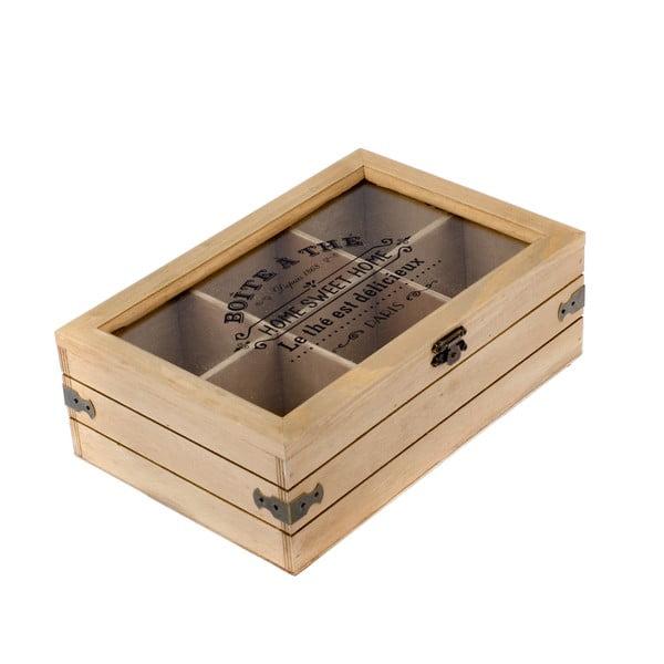 Drevená škatuľka na čaj so 6 priehradkami Dakls Mia, 24 x 16 cm