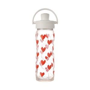 Sklenená fľaša na vodu so silikónovým chráničom Lifefactory Luv Activ Premium, 475 ml