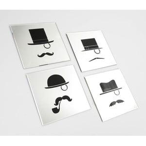 Set 4 zrkadiel Moustache, 35x35 cm