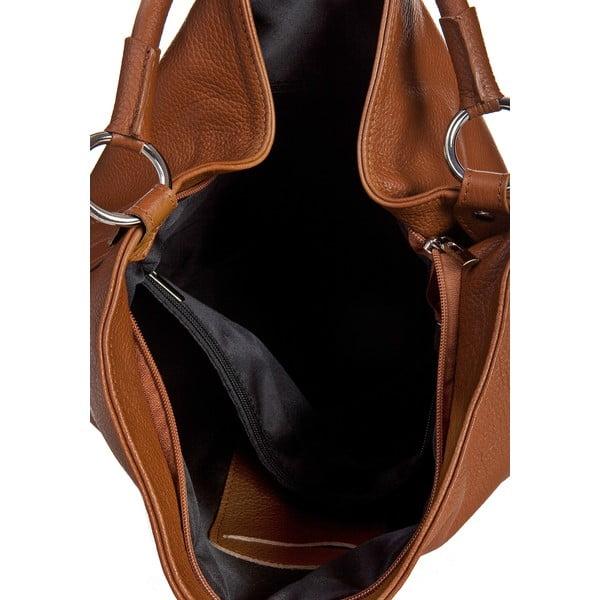 Svetlohnedá kožená kabelka Massimo Castelli Dollaro
