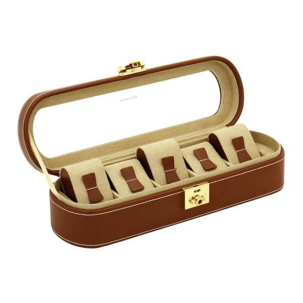 Hnedý kožený box na 5 hodiniek Friedrich Lederwaren Cordoba