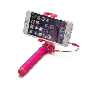 Ružová selfie tyč CELLY Mini selfie, spúšť cez 3.5mm jack