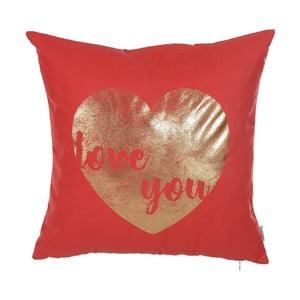 Červená obliečka na vankúš Apolena Shimmering Heart, 45 x 45 cm