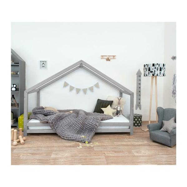 Sivá detská posteľ z lakovaného smrekového dreva Benlemi Sidy, 120 × 190 cm