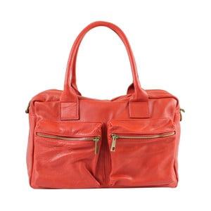 Červená kožená kabelka Loira