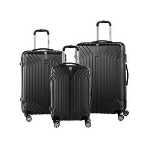 Sada 3 čiernych cestovných kufrov na kolieskách so zámkom SINEQUANONE