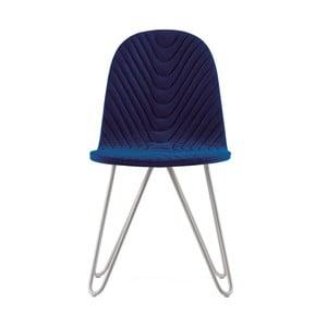 Tmavomodrá stolička s kovovými nohami IKER Mannequin X Wave