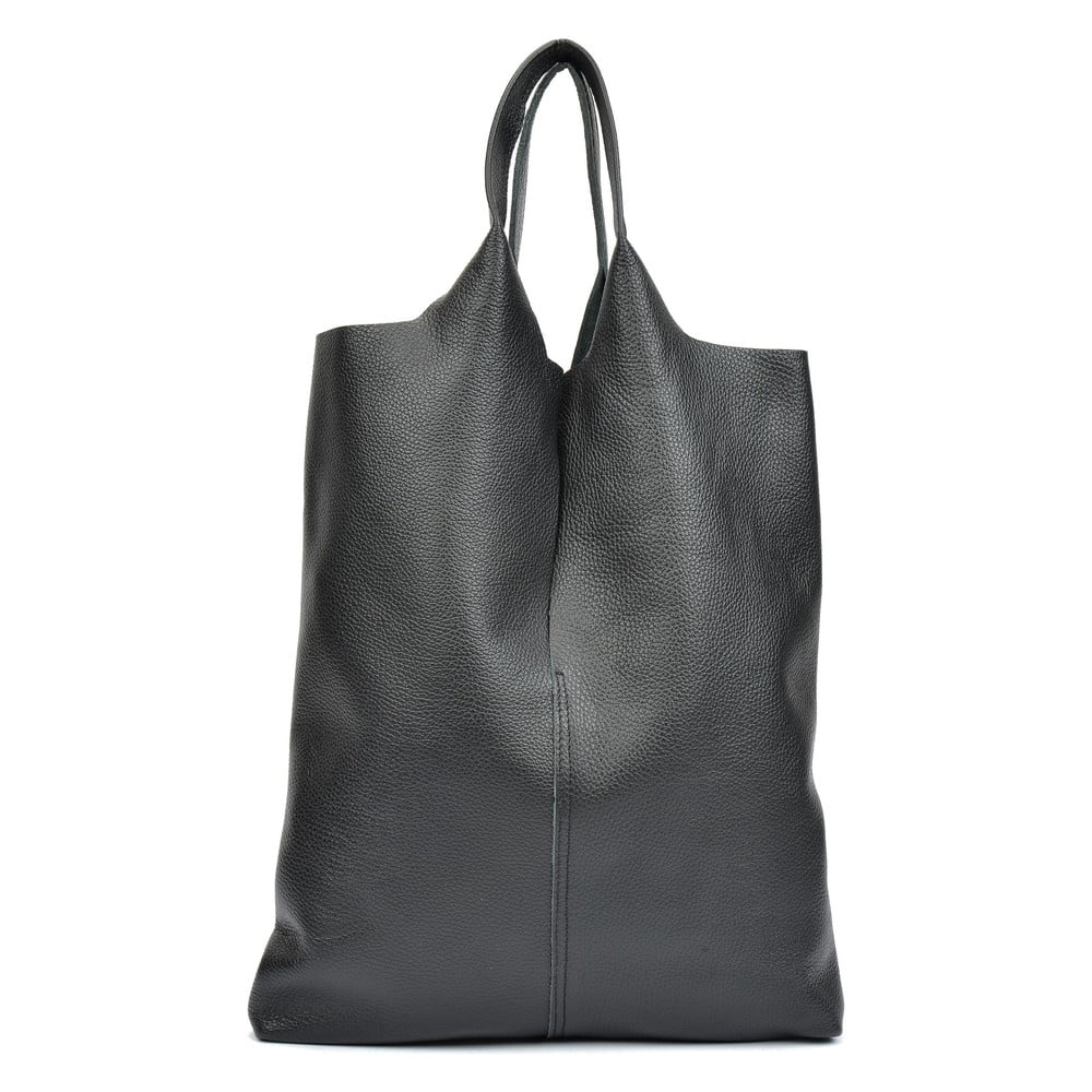 Čierna kožená taška na nákup Isabella Rhea