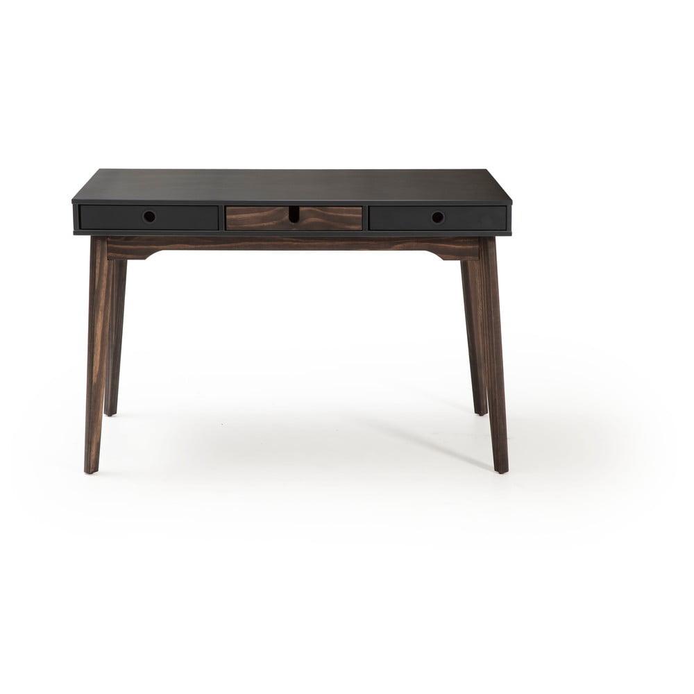 Sivý písací stôl s nohami z borovicového dreva Marckeric Kiara