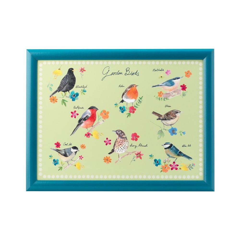 Modrý podnos s potlačou vtáčikov David Mason Garden Birds, 43 x 32,5 cm