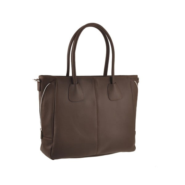 Kožená kabelka Emilio Masi Baiten, hnedá
