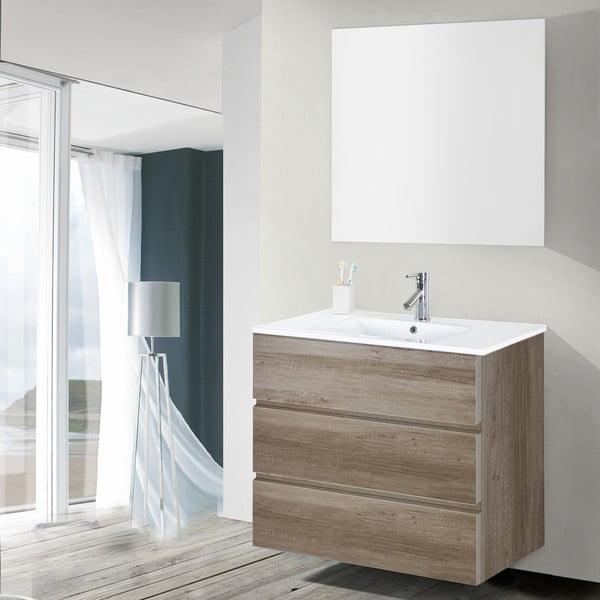 Kúpeľňová skrinka s umývadlom a zrkadlom Nayade, dekor dubu, 80 cm