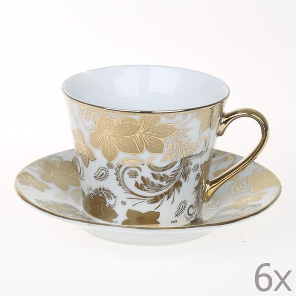 Set hrnčekov Tea Gold Flowers, 6 ks