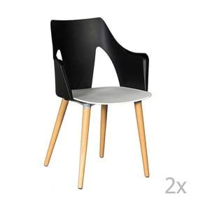 Sada 2 čierno-bielych stoličiek Evergreen House Leggy