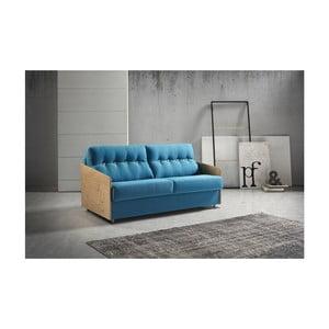 Modrá rozkladacia pohovka s drevenými opierkami Suinta Como, šírka 188 cm