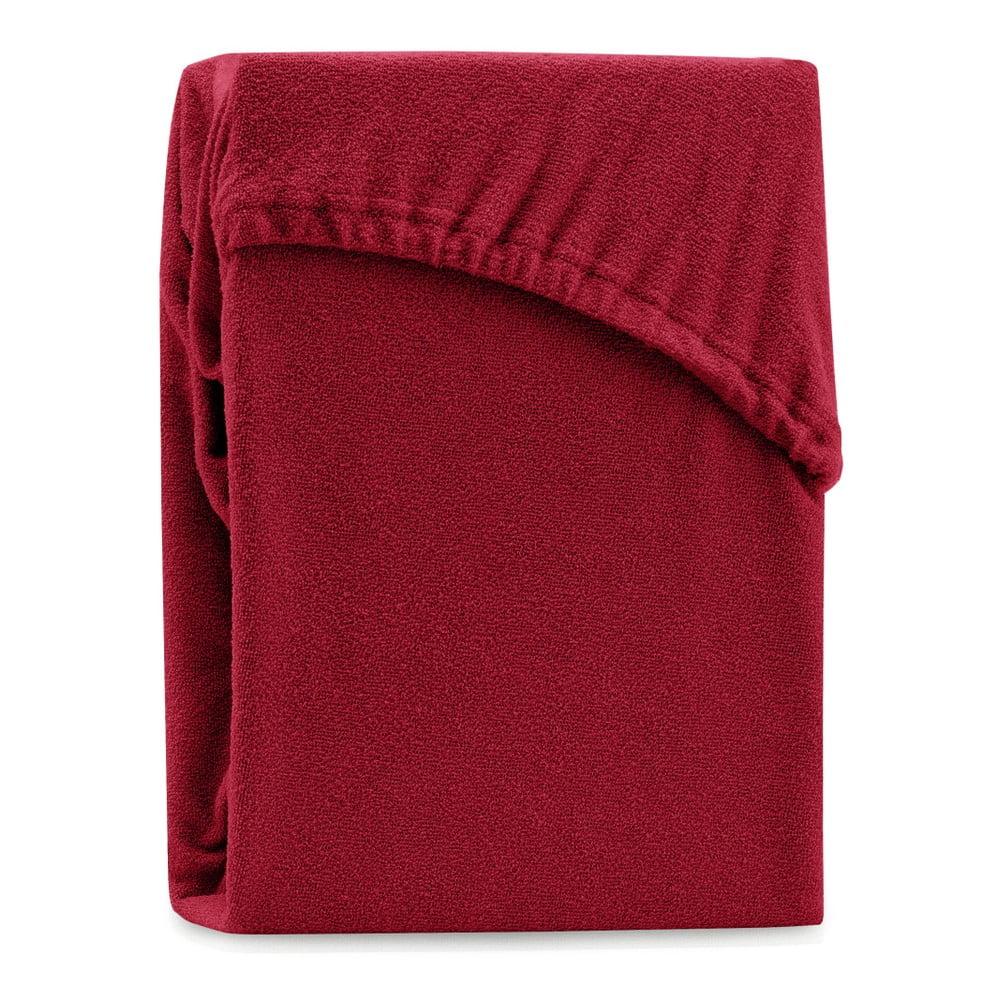Tmavočervená elastická plachta na dvojlôžko AmeliaHome Ruby Dark Red, 220-240 x 220 cm