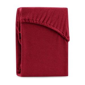 Tmavočervené elastické plachty na dvojlôžko AmeliaHome Ruby Dark Red, 200-220 x 200 cm