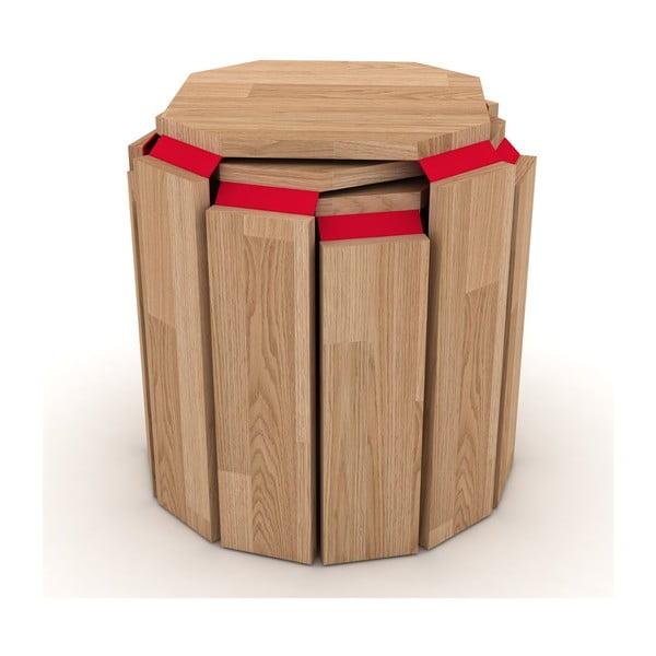 Sada 3 rozložiteľných odkladacích stolíkov s červeným detailom Rafevi Hansel